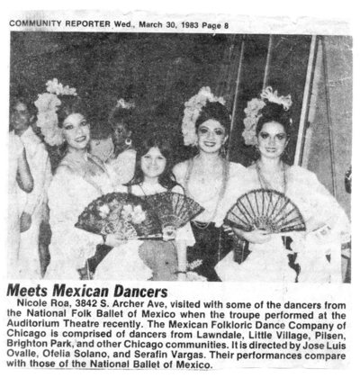 Nicole visited with Ballet Folklorico de Mexico dancers